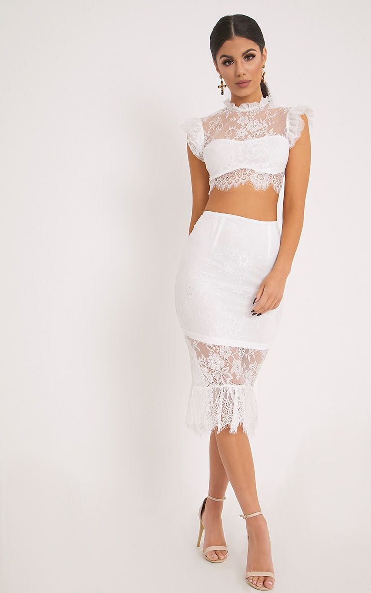Marla White Lace Fishtail Midi Skirt