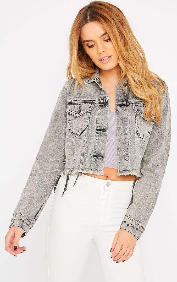 Afra Grey Acid Wash Cropped Frayed Denim Jacket 1