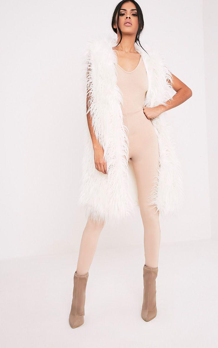 Brogen White Soft Faux Fur Longline Gilet