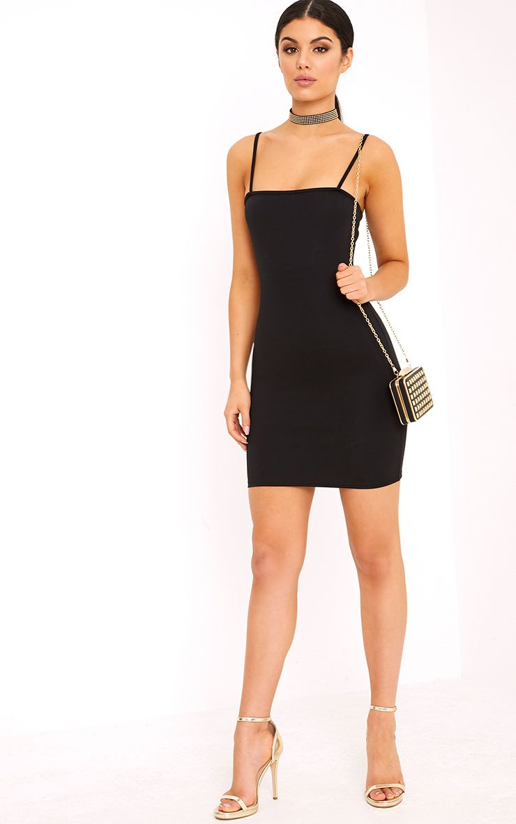 Cheap Eastbay Free Shipping Many Kinds Of Desri Black Straight Neck Bodycon Dress Pretty Little Thing X7S2H9