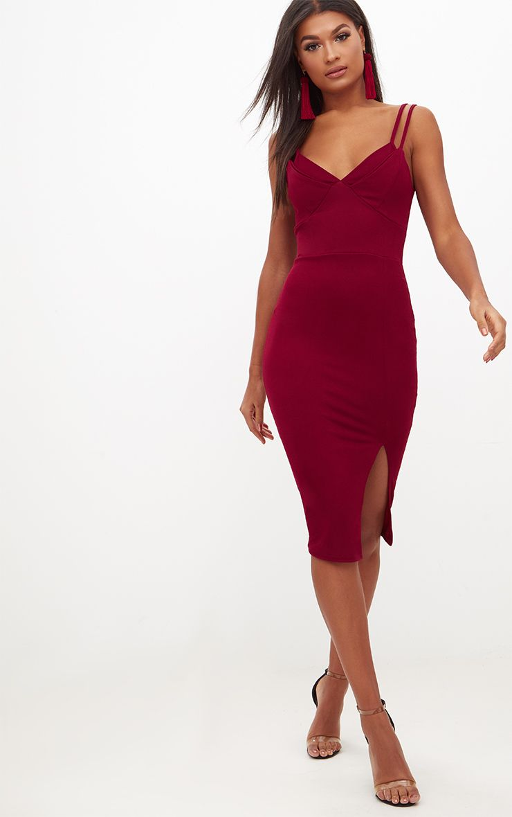 Burgundy Double Strap Midi Dress