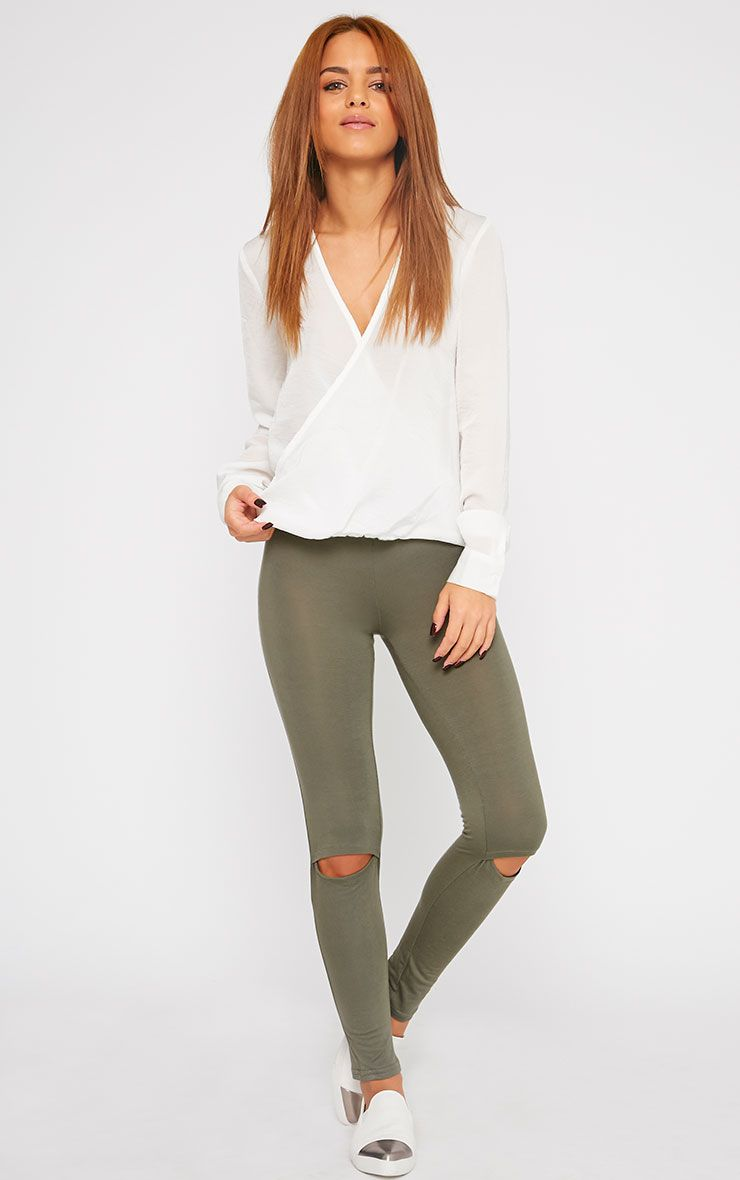 Basic Khaki Ripped Knee Leggings 1
