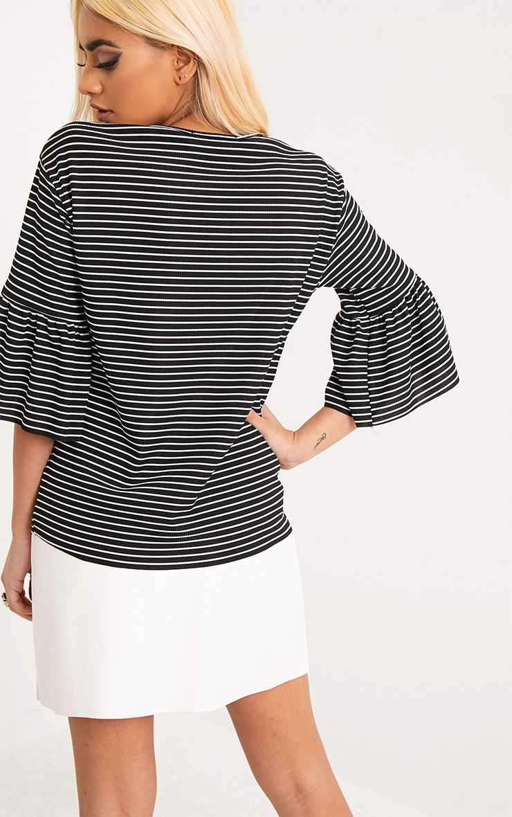 Odelle black stripe frill sleeve jersey t shirt tops for Frill sleeve t shirt