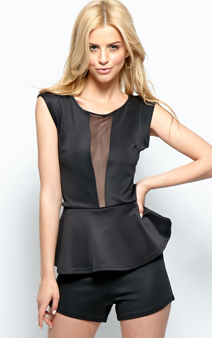 Viola Black Peplum Mesh Playsuit 1