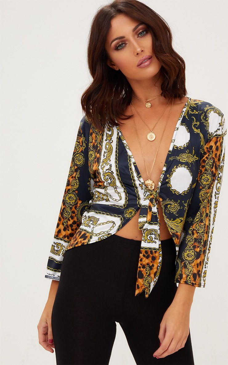 Navy Chain Print Tie Front Blouse