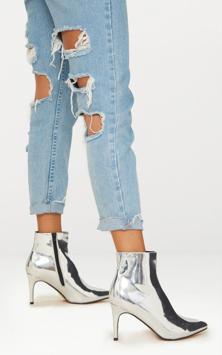 Silver High Shine Silver Heeled Point Ankle Boot