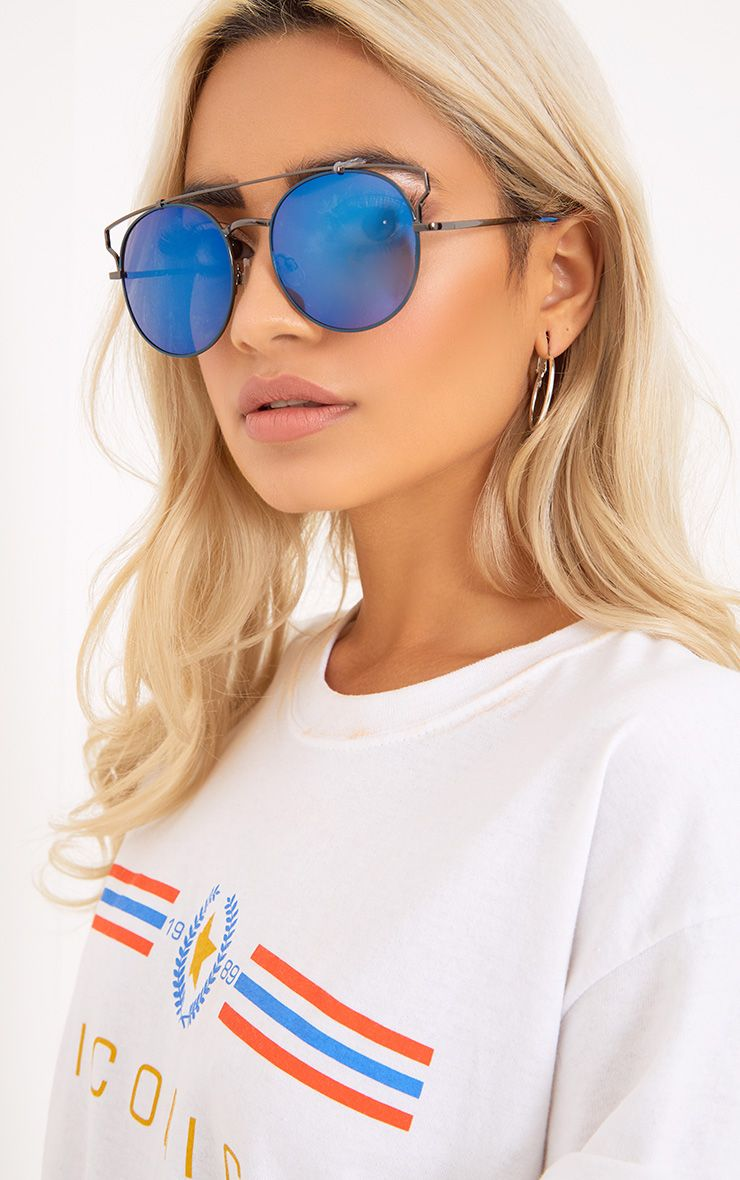 Blue Lens Cut Out Frame Sunglasses