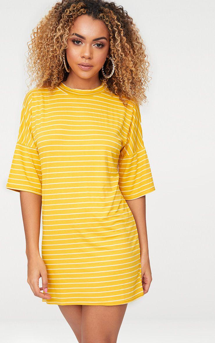 Mustard Striped Oversized T Shirt Dress
