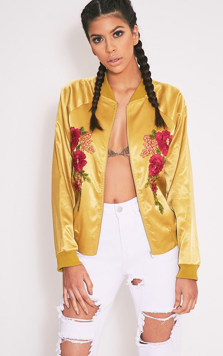 Challah Dark Lime Satin Applique Bomber Jacket
