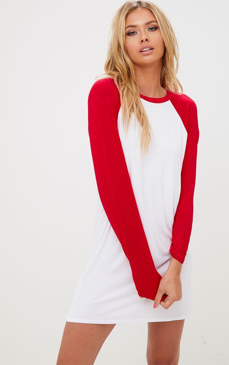 White Contrast Long Sleeve T Shirt Dress