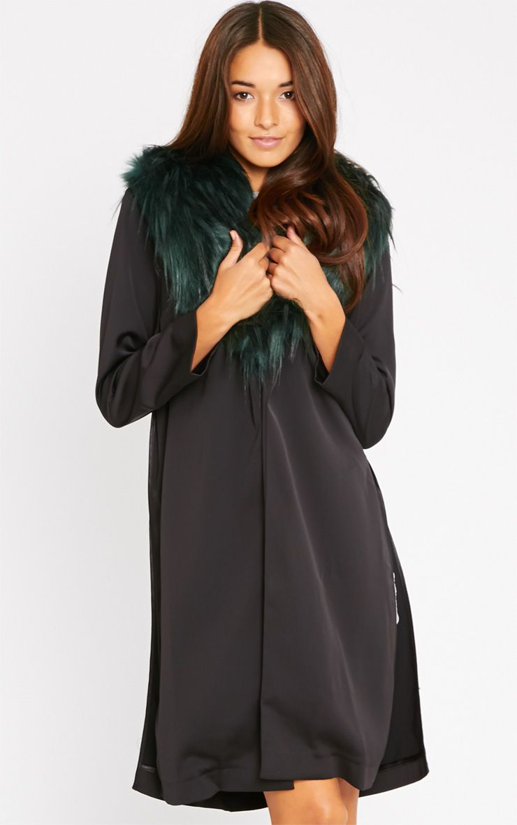 Felix Green Fur Collar Black Duster Coat 1