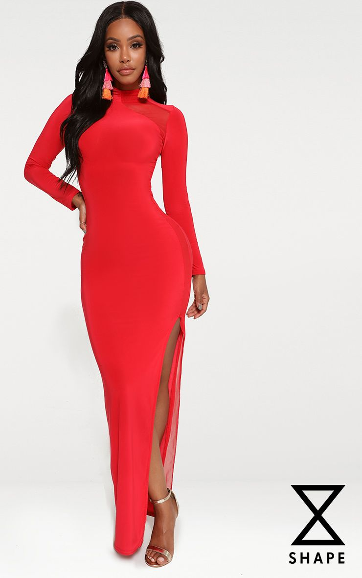 Shape Red Slinky Mesh Insert Maxi Dress