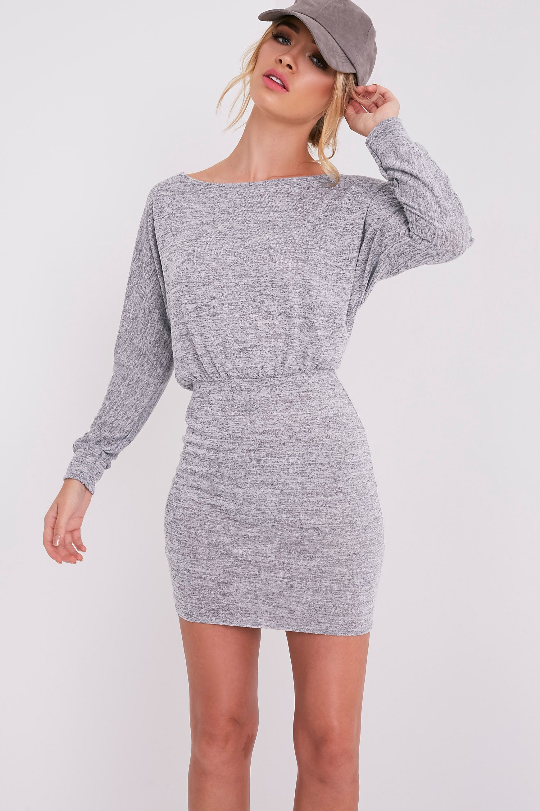 Lerie Grey Waist Fitted Knit Dress 5