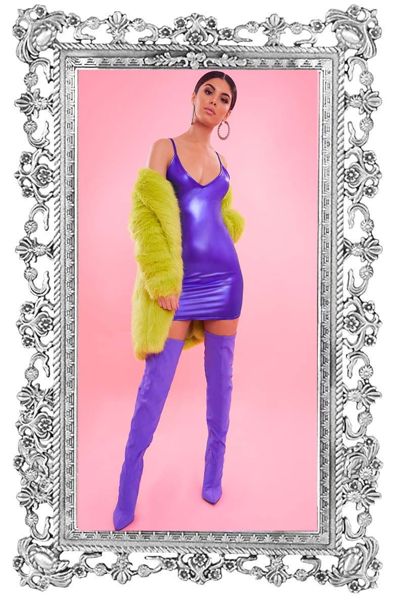 Purple Metallic Strappy Plunge Bodycon Dress
