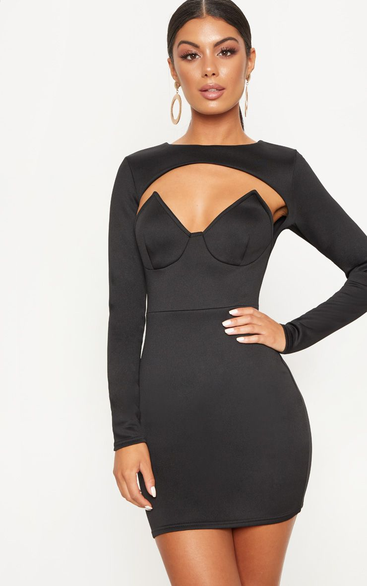 Black Long Sleeve Plunge Cut Out Detail Bodycon Dress