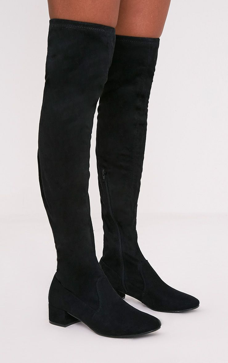 Esmay Black Faux Suede Thigh High Boots