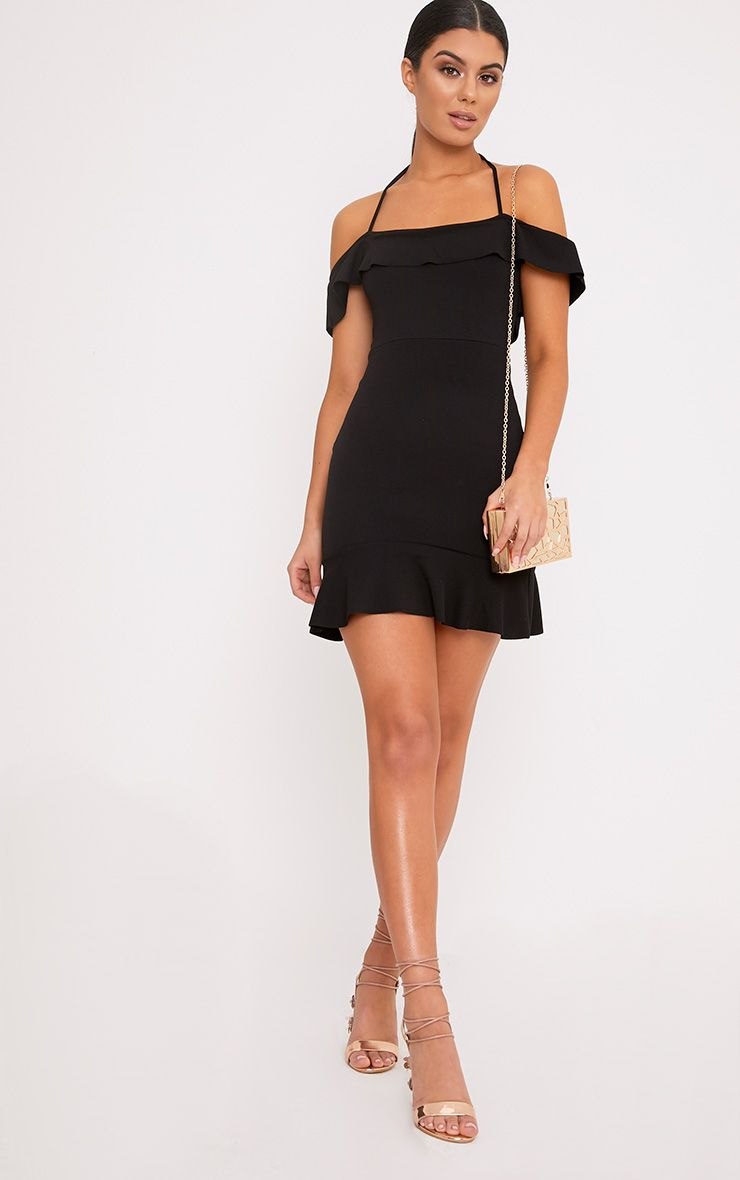 Jemena Black Frill Bardot Drop Hem Mini Dress
