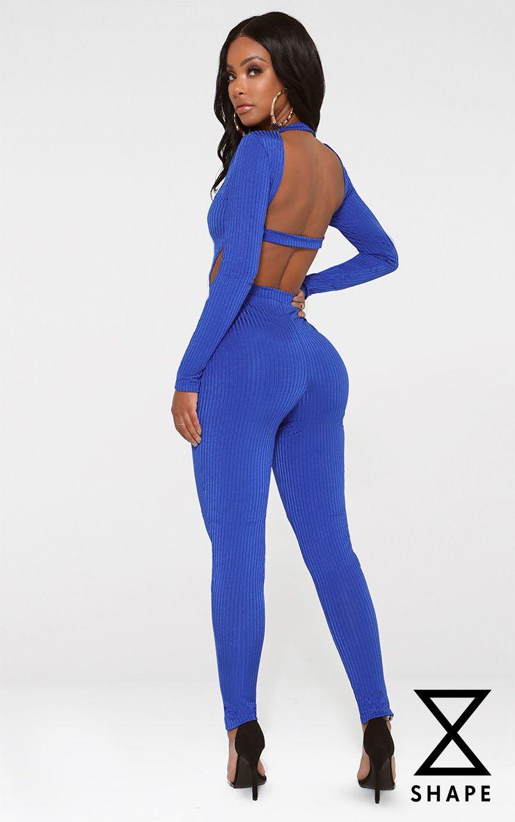 Shape Cobalt Ribbed Open Back Jumpsuit