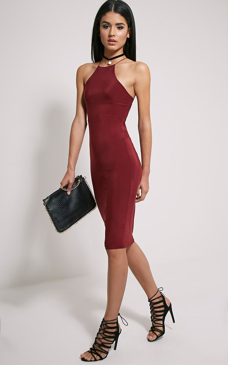 Mirabella Burgundy Slinky Strap Back Midi Dress 1