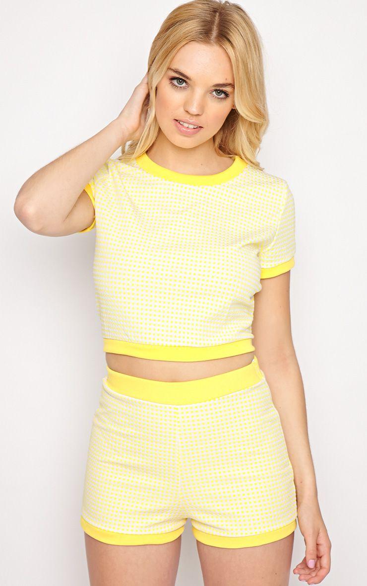 Mabel Yellow Gingham Shorts 1