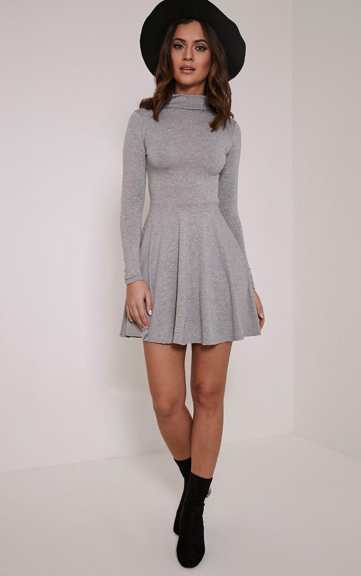 Basic Grey Marl High Neck Skater Dress 1