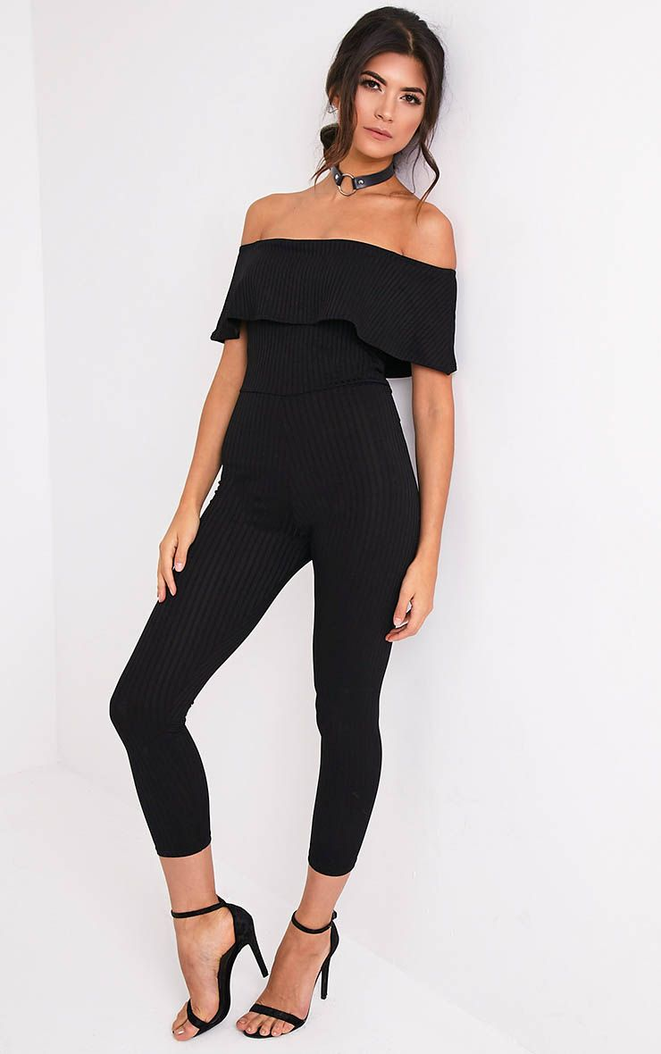 Nancy Black Bardot Ribbed Jumpsuit