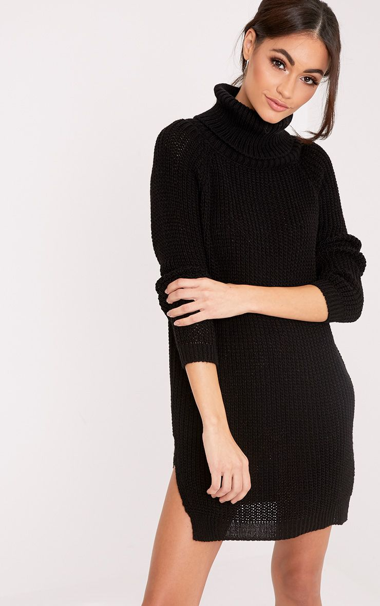 Aeeda Black Chunky Roll Neck Knitted Tunic Dress Black