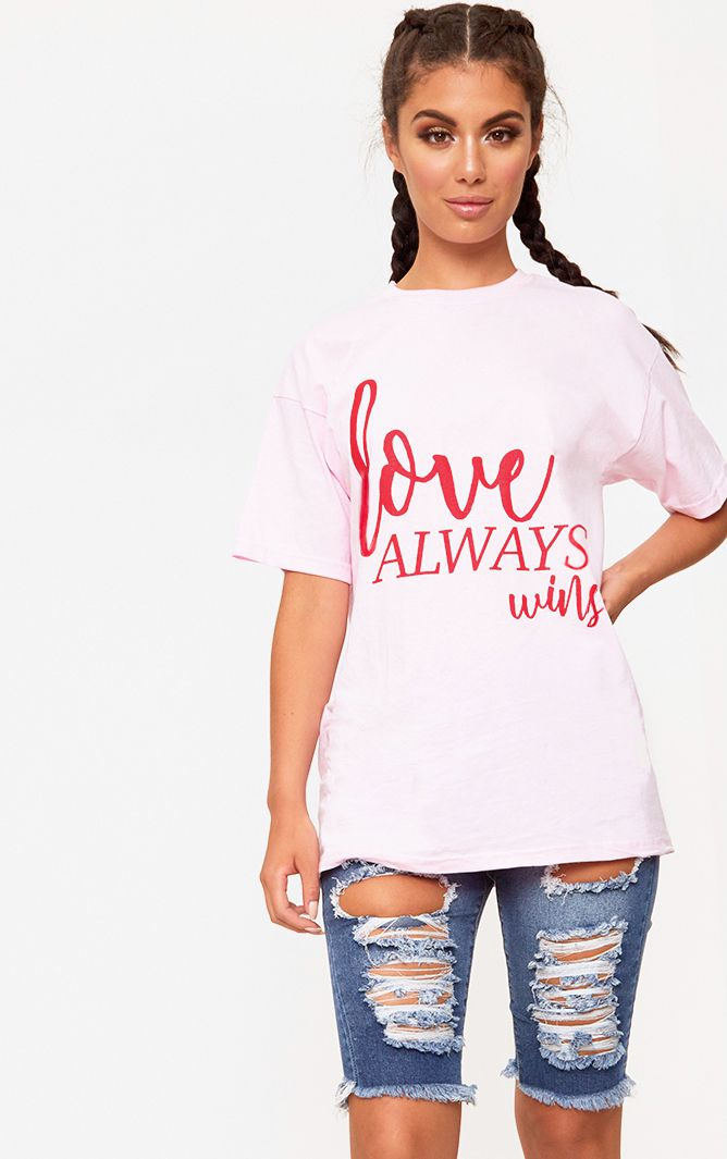 Love Always Wins Slogan Pink T Shirt