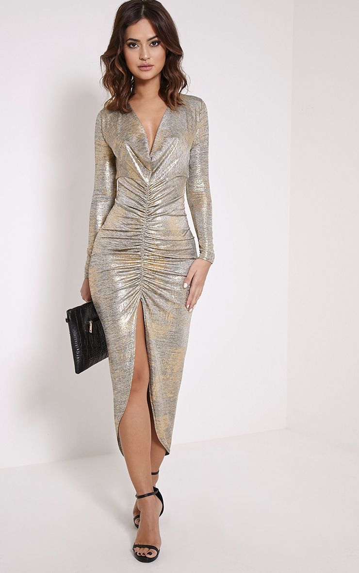 Ellie Gold Metallic Ruched Maxi Dress 1