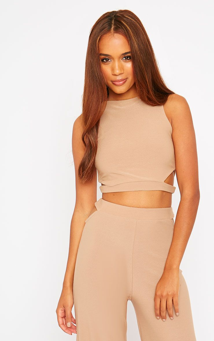 Elphina Camel Crepe Cut Out Crop Top 1