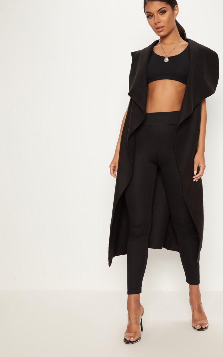 Valerie Black Sleeveless Waterfall Belt Coat