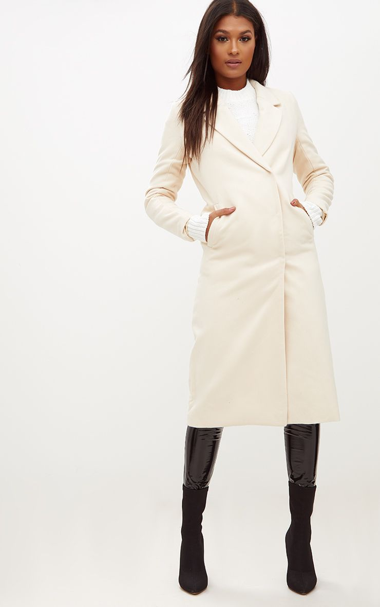 Cream Double Breasted Longline Coat
