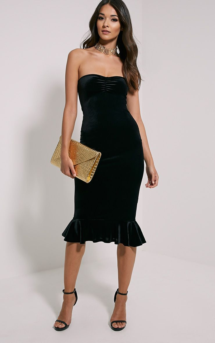 Tawny Black Velvet Bandeau Midi Dress 1