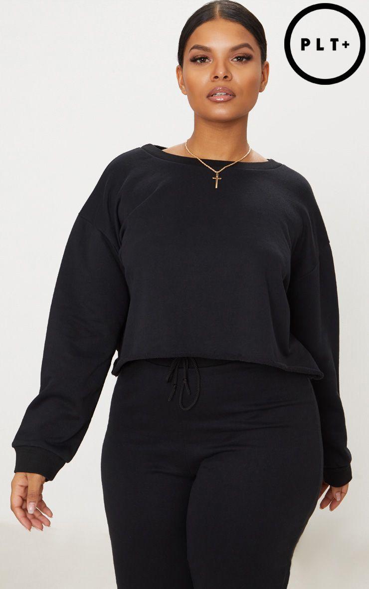 Plus Black Extreme Crop Sweater 1