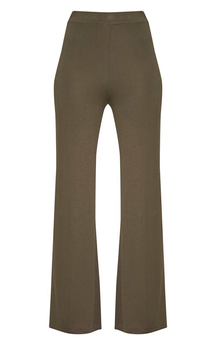 Basic Khaki Jersey Wide Leg Trousers 3