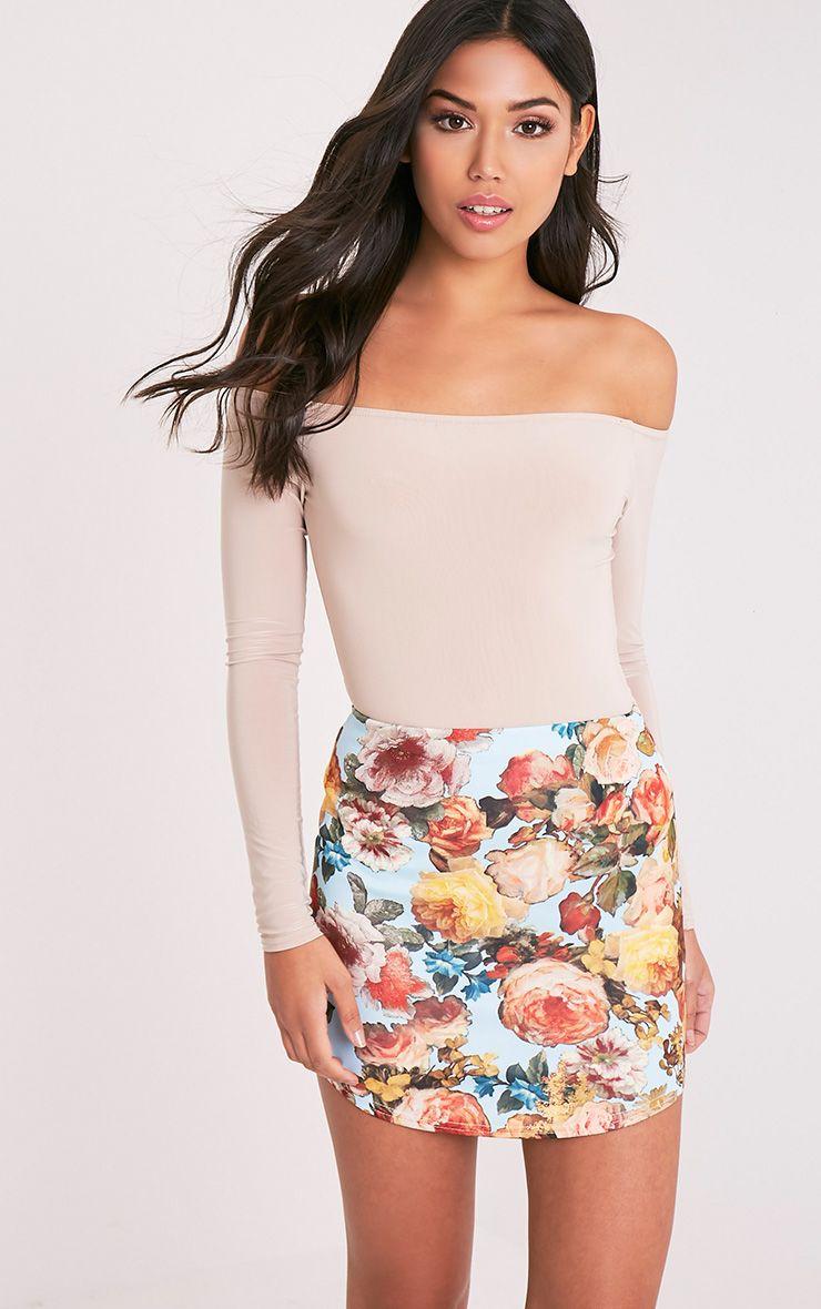 Tashia Blue Floral Curve Hem Mini Skirt 1