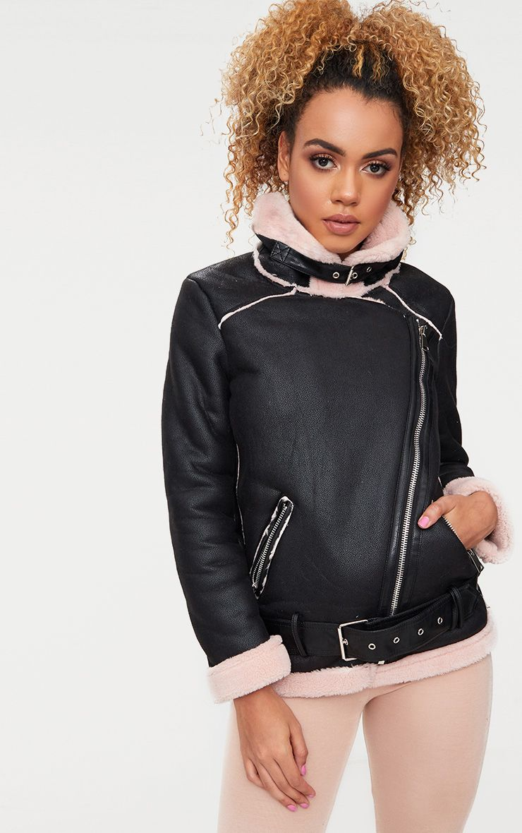 Black Faux Suede Belted Aviator Jacket
