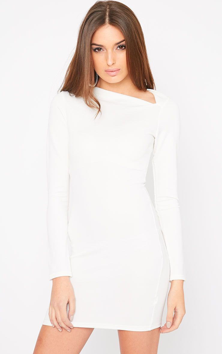 India Cream Slash Neck Bodycon Dress 1