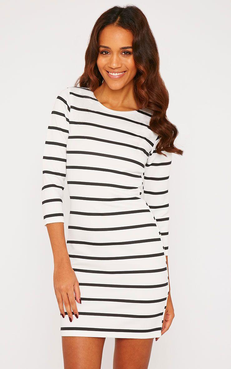 Petrine Monochrome Striped Bodycon Mini Dress 1