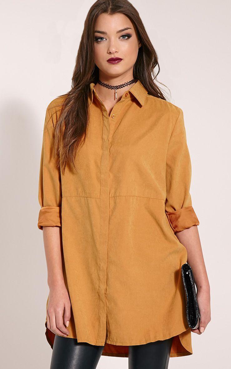 Joanie Mustard Peach Skin Shirt 1