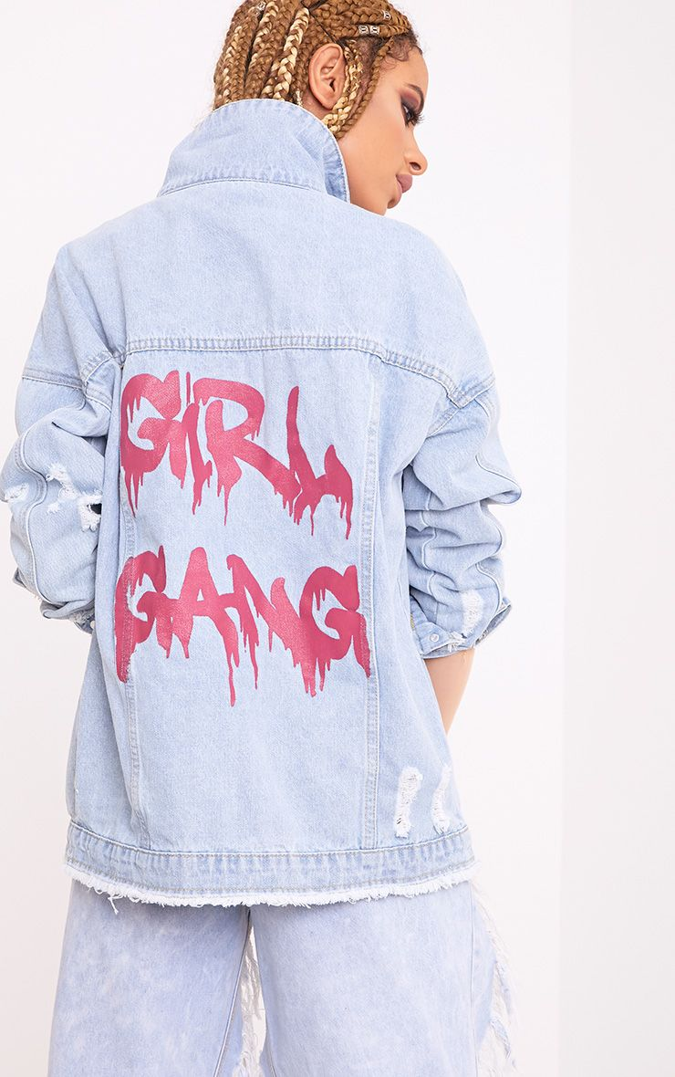 Girl Gang Light Wash Oversized Denim Jacket 1
