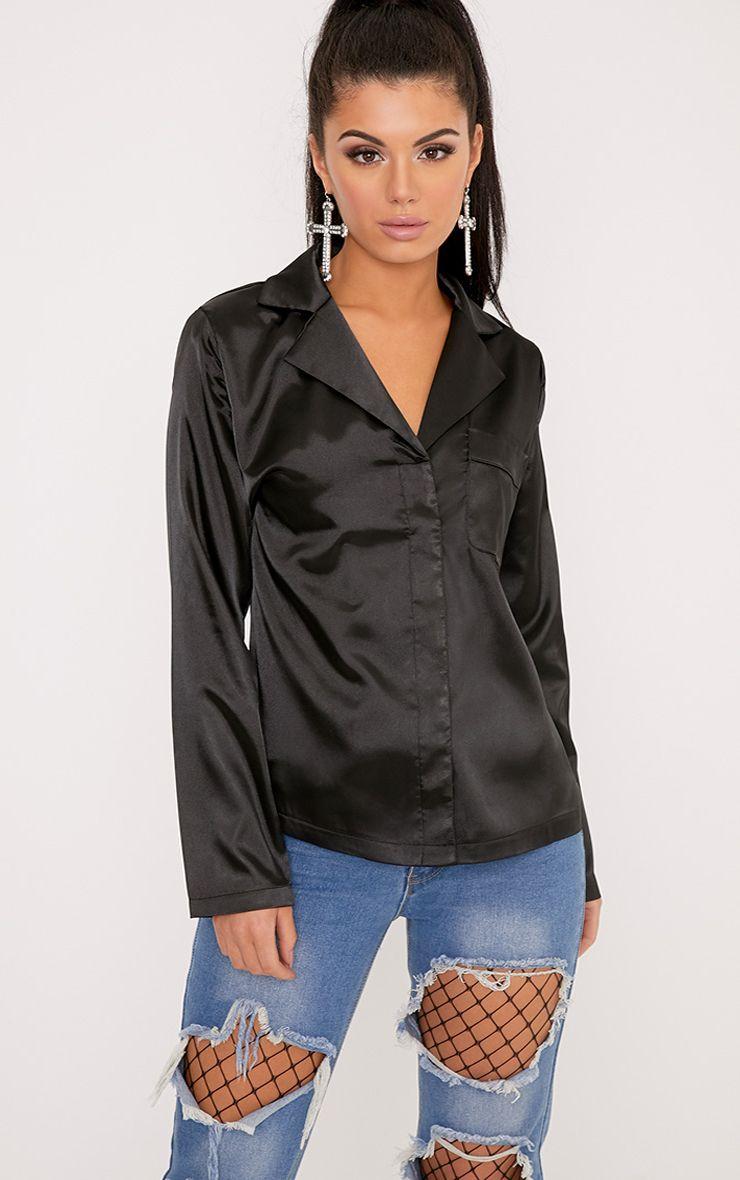 Meadelyn Black Satin Pajama Style Shirt