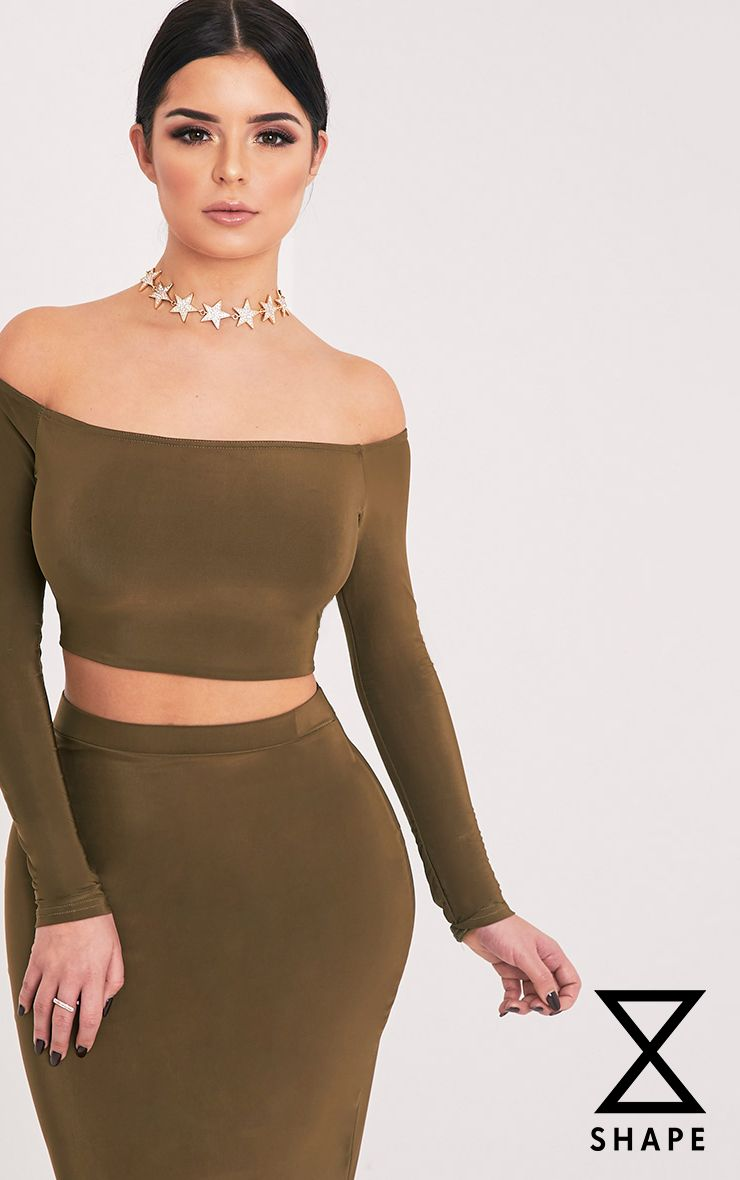 Shape Ellicia Khaki Slinky Bardot Crop Top  1