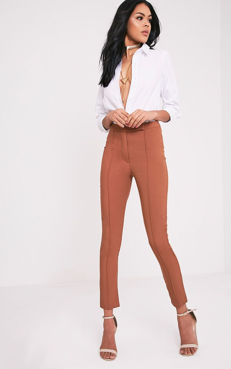 Symone Tan Skinny Cigarette Trousers