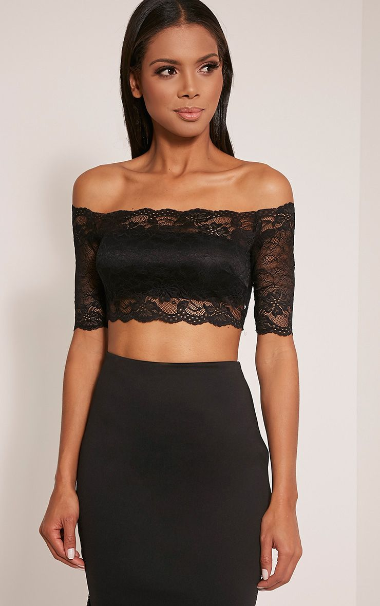 Rian Black Lace Bardot Crop Top 1