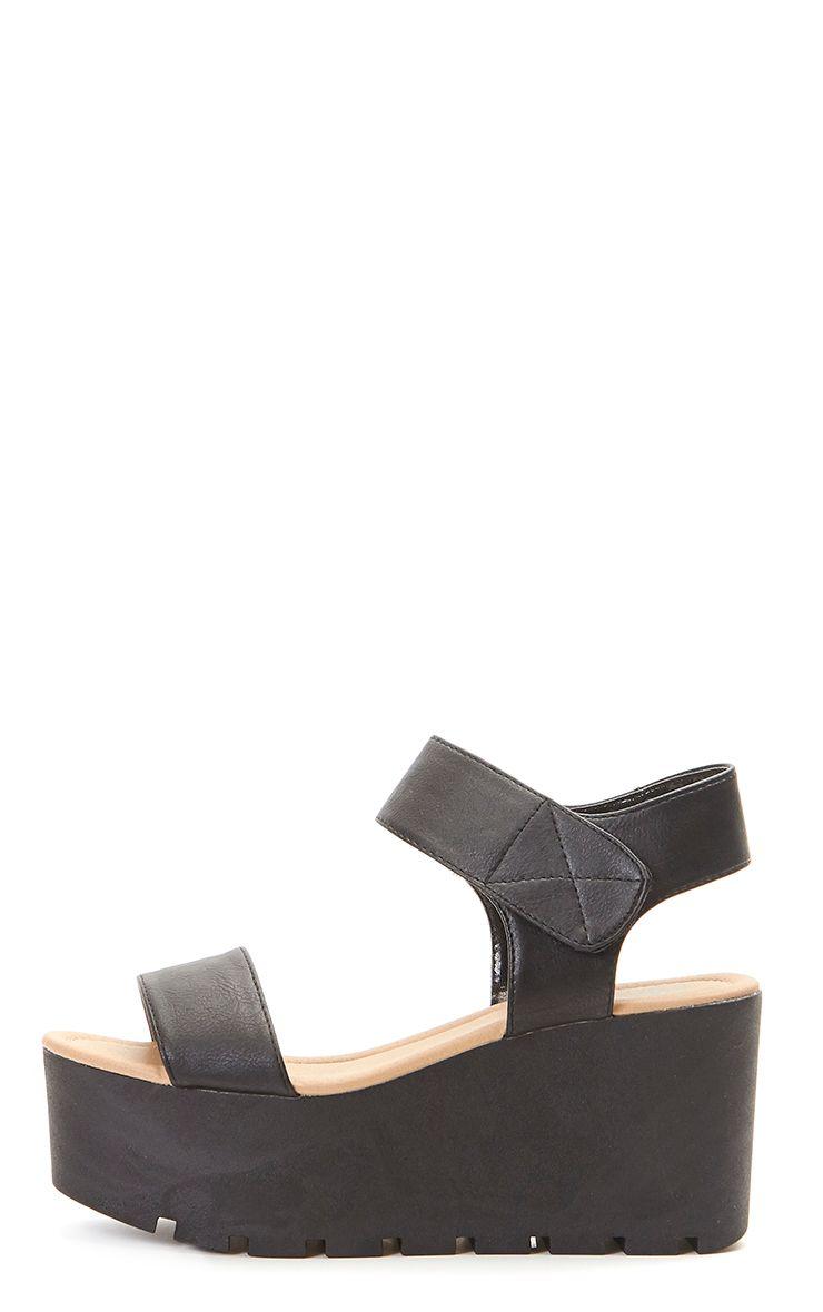 Anilda Black Faux Leather Flatform Cleated Sandal 1