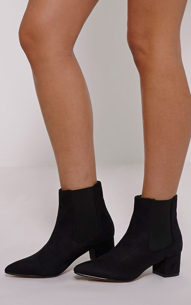Evan Black Faux Suede Heeled Chelsea Boots 1
