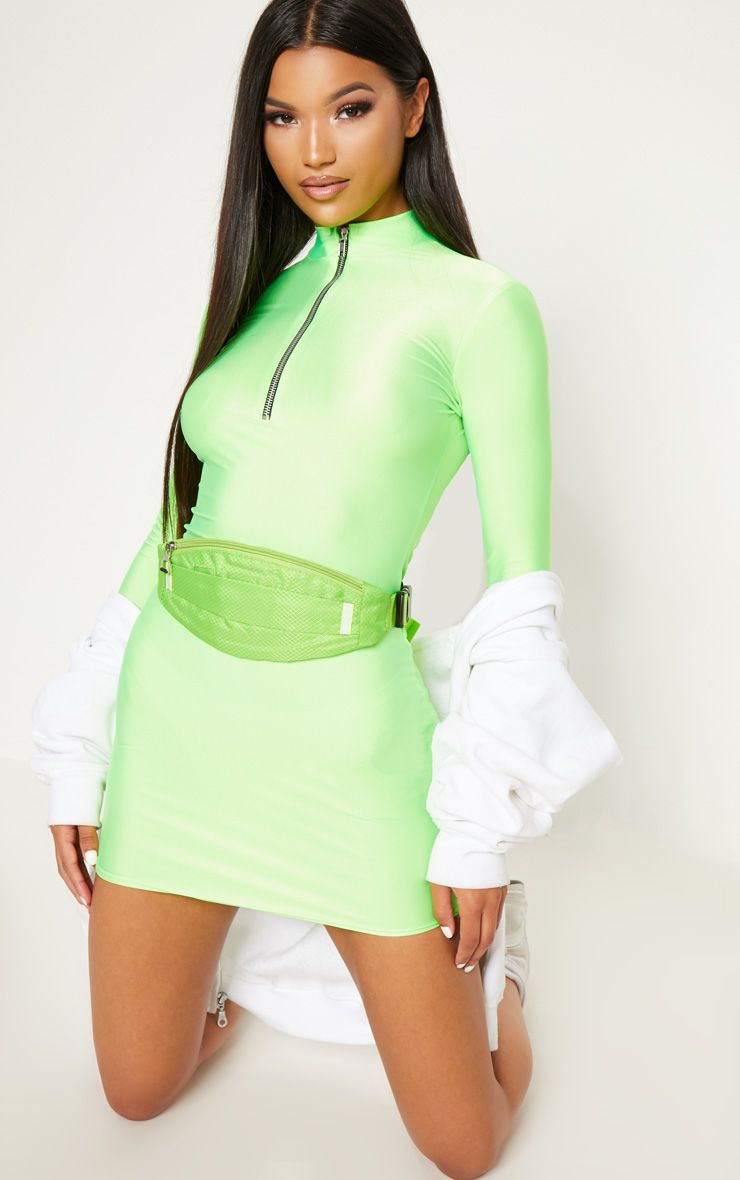66cdc6248244 Shoptagr | Neon Green Disco Slinky High Neck Zip Bodycon Dress by ...