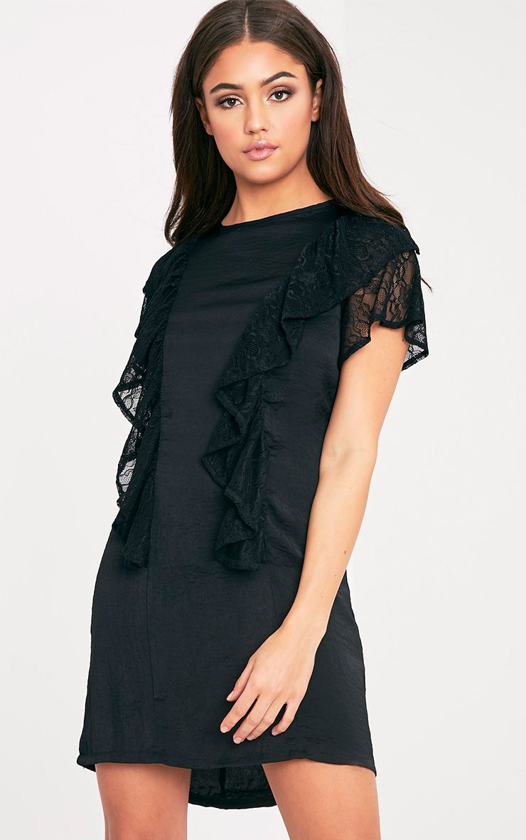 Melyssa Black Lace Trim Shift Dress