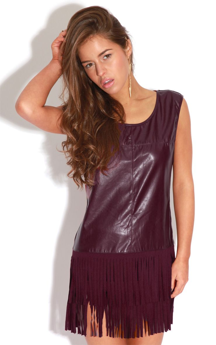 Jessica Burgundy PU Tassel Vest Dress 1